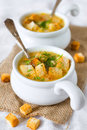 Pea soup fresh with croutons Stock Image