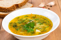 Pea soup with herbs Royalty Free Stock Photos