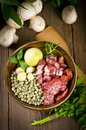 Pea soup  ingredients Royalty Free Stock Photo