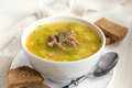 Pea soup with meat Royalty Free Stock Photo