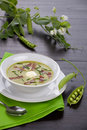 Pea soup with prosciutto Royalty Free Stock Photo