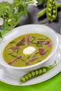 Pea soup with prosciutto Royalty Free Stock Image