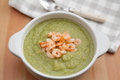 Pea soup with shrimps home made Royalty Free Stock Photography