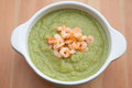 Pea soup with shrimps home made Stock Images