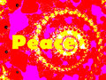 Peace 60s or 70s Style 2d Spiral Fractal Pink Stock Photo