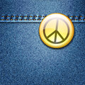 Peace Badge on Denim Fabric Texture Jacket Royalty Free Stock Photos