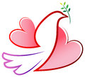 Peace bird with love wings