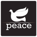 Peace bird a white silhouette of a with text Stock Image