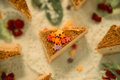 Peace of cake with sugar stars Royalty Free Stock Photo