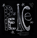 Peace in chalk the word illustrated for holidays Royalty Free Stock Photos