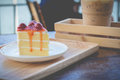 Peace of cherry cake served in afternoon time Royalty Free Stock Photo
