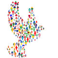 Peace concept with dove made of patterned people in world flags Royalty Free Stock Photo