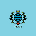 Peace day concept with globe green leaves crown and heart on a blue background Royalty Free Stock Photos