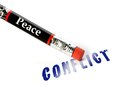 Peace erases conflict concept of erasing using an eraser analogy Royalty Free Stock Photo