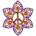 Peace floral mandala isolated