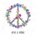 Peace Hippie Symbol with Flower on the white Background. Royalty Free Stock Photo
