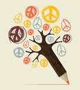 Peace icon tree pencil concept and love diversity symbol idea vector illustration layered for easy manipulation and custom Royalty Free Stock Images