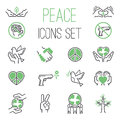 Peace icons vector set. Royalty Free Stock Photo