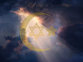Peace jewish star and muslim cresent Royalty Free Stock Photography