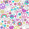 Peace and Love Dove Pattern Notebook Doodles Royalty Free Stock Photo