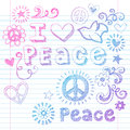 Peace Love and Dove Sketchy Doodles Vector Stock Photo