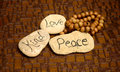Peace love and kind rocks peaceful scene with with words for meditation Stock Photography