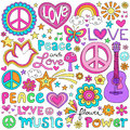 Peace Love and Music Notebook Doodles Vector Set Stock Image