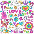 Peace, Love, & Music Notebook Doodles Vector Set Royalty Free Stock Photo