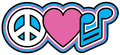 Peace love music retro styled design of heart and barred musical note symbols in pink blue black and white Stock Images