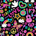 Peace and love seamless pattern psychedelic doodle music groovy notebook design hand drawn illustration background Royalty Free Stock Image