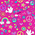 Peace and Love Seamless Pattern Vector Royalty Free Stock Photo