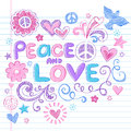 Peace & Love Sketchy Notebook Doodles Vector Set Stock Images