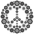 Peace and Love Symbol made of Flowers Royalty Free Stock Photos
