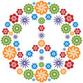 Peace and Love Symbol made of flowers - Multicolor Stock Photo