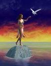 Peace, Love, White Dove, Woman Royalty Free Stock Photo