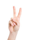 Peace male hand gesturing sign isolated Stock Images