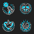 Peace outline blue icons love world freedom international free care hope symbols vector illustration