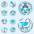 Peace Outline Blue Icons Love ...