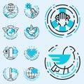 Peace outline blue icons love world freedom international free care hope symbols vector illustration