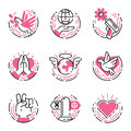Peace outline pink icons love world freedom international free care hope symbols vector illustration