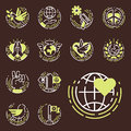 Peace outline thin line icons love world freedom international free care hope symbols vector illustration
