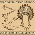 Peace pipe, Indian hat, dream catcher, ax, feathers and stars Royalty Free Stock Photo