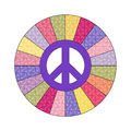 Peace sign decal with patterened color wheel Royalty Free Stock Images