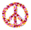 Peace sign of flower and hearts power built flowers Royalty Free Stock Photo
