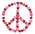 Peace sign of hearts signs red and pink Stock Image
