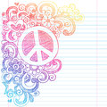 Peace sign love psychedelic back to school sketchy notebook doodles illustration design lined sketchbook paper background Royalty Free Stock Image