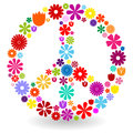 Peace sign made of flowers or symbol by colorful with shadow on white Stock Photo