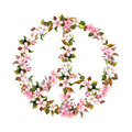 Peace sign, pink flowers - cherry blossom, sakura . Watercolor Royalty Free Stock Photo