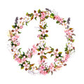 Peace sign with pink flowers, feathers. Watercolor in boho style Royalty Free Stock Photo