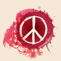 Peace sign on red water color ink splat background Royalty Free Stock Photo